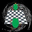 Векторный клипарт: лягушечки играют в шашки