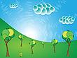 Векторный клипарт: пейзаж с деревьями