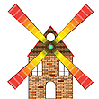 Vector clipart: wind mill house