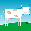 Vector clipart: a cow eating grass