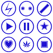 Vector clipart: blue icons against white