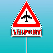 Vector clipart: airport sign and blue sky background
