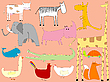 Vector clipart: cartoon drawing with animals