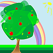 Vector clipart: apple tree and rainbow