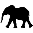 Vector clipart: elephant silhouette isolated on white
