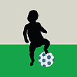 Vector clipart: baby playing football