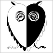 Vector clipart: black and white owl