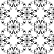 Vector clipart: black and white seamless floral pattern