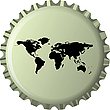Vector clipart: black world map against bottle cap
