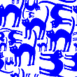 Vector clipart: blue cats pattern