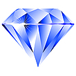 Blue diamond isolated on white | Stock Vector Graphics