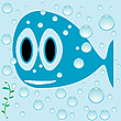 Vector clipart: blue fish cartoon