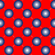 Vector clipart: blue spheres on red seamless pattern