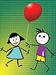Jungen und Mädchen spielen mit Luftballon