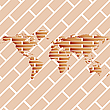 Vector clipart: bricks world map