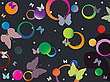 Vector clipart: butterflies and bubbles in retro colors
