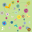 Vector clipart: butterflies and flowers
