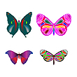 Vector clipart: multicolored butterflies