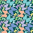 Vector clipart: butterflies seamless pattern over blue extended
