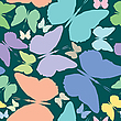 Vector clipart: butterflies seamless pattern over blue