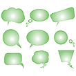 collection of green stylized text bubbles