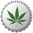 Vector clipart: cannabis leaf on bottle cap against white