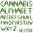 Vector clipart: cannabis leaves alphabet
