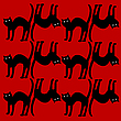 cat pattern isolated on red
