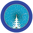 Christmas tree blue medallion | Stock Vector Graphics