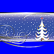 Vector clipart: christmas tree card on blue background
