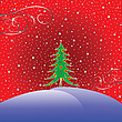Vector clipart: christmas tree with stars background