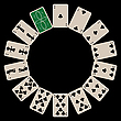 Vector clipart: circle shape clubs playing cards isolated on black
