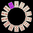 Vector clipart: circle shape diams playing cards isolated on black