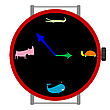 Vector clipart: clock with animals