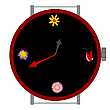 Vector clipart: clock with flowers