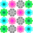 Vector clipart: colored flowers seamless pattern 3