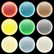 Vector clipart: colored glossy web buttons against black