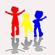 彩色孩子剪影 | 向量插图