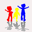Vector clipart: colored kids silhouettes