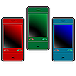 Vector clipart: colored mobile phones against white
