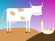 Vector clipart: drawing of cow and goose