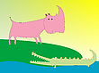 Vector clipart: drawing of crocodile and rhino