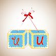 Vector clipart: cubes alphabet U