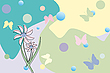 Vector clipart: flower and butterflies