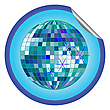 Vector clipart: disco ball blue sticker 2