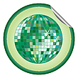 Vector clipart: disco ball green sticker