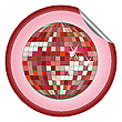 Vector clipart: disco ball red sticker