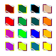 Vector clipart: double rounded rectangle colored stickers isolated on white