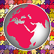Vector clipart: earth globe against puzzle background