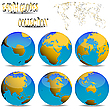 Vector clipart: earth globes against white